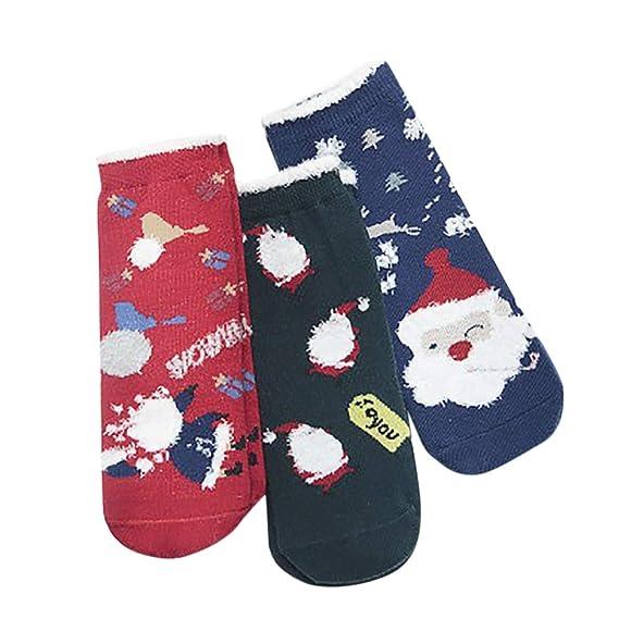 Rawdah_Calcetines Mujer Invierno Divertidos Termicos Algodon 3 Pares De Invierno Niños De Santa Claus Caricatura De Navidad Gruesas Calcetines De Lana ...
