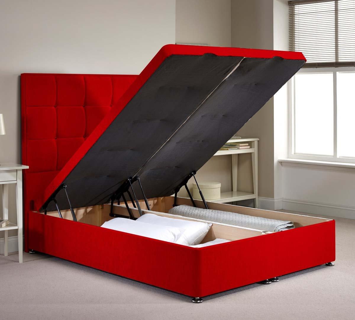 Appian Diván cama otomana marco - rojo felpilla tela - King - 5 FT 0 ...