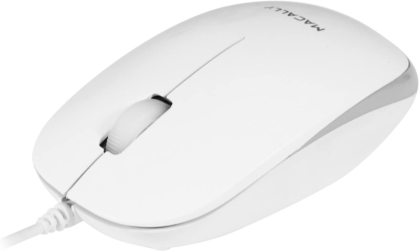Macally USB Wired Computer Mouse with 3 Button, Scroll Wheel, 5 Foot Long Corded, Compatible with Windows PC, Apple Macbook Pro/Air, iMac, Mac Mini, Laptops (White)
