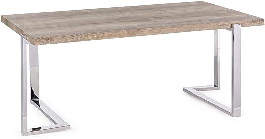 ARREDinITALY - Mesa Rectangular de 100 x 60 cm con Patas de Acero ...