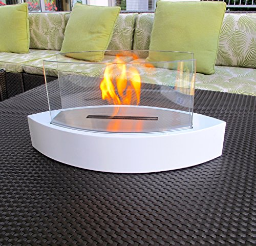 Chic Fireplaces- Concord White TableTop Ventless Bio Ethanol Fireplace, Indoor/Outdoor, Portable, Non-Toxic & Eco-Friendly (Fireplace Ventless Corner Gel)