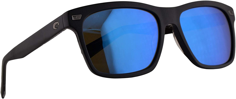 Costa Del Mar Aransas Matte Black Frame Blue Mirror 580G Glass Polarized Lens