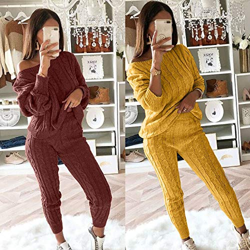 23230a9cac71b Dimanul✿ Womens Ladies Solid Off Shoulder Cable Knitted Warm 2PC Loungewear  Suit Set Sweatshirt Tracksuit Shirt +Pants