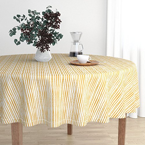 cloth - Stripe Stripes Yellow Stripes Gold Stripe Stripe Fabric Painted Stripe by Charlottewinter - Cotton Sateen Tablecloth 90in ()