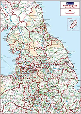 North Of England Map.Postcode Area Map 3 North England Colour Satin Photo Paper