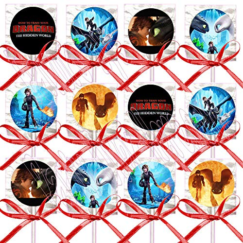 Train Dragon 3 Lollipops Party Favors Decorations Movie w/ Red Ribbon Bows Party Favors -12 pcs, How to Train Your Dragon Toothless Girl Stormfly Night Fury Hiccup (Dragon Suckers)