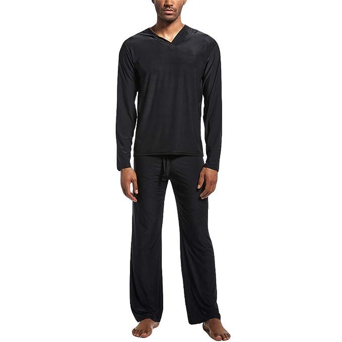 Amazon.com: Pajamas para hombre con capucha de color puro ...