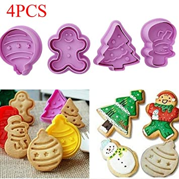 Christmas Cookie Biscuit Plunger Cutter Set 4pcs Cookie Cutter Fondant Baking Mould Christmas Party Decorating Tools Random Color