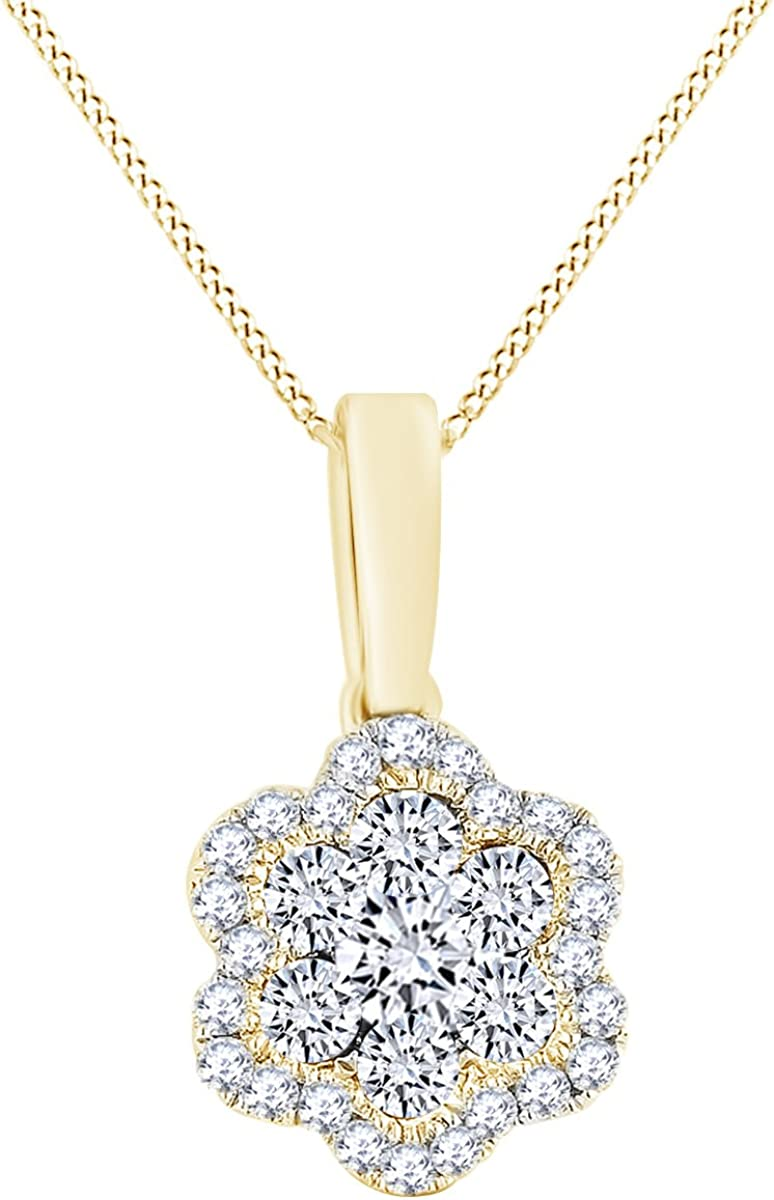 Wishrocks Marquise Cut White Cubic Zirconia Leaf Circle Pendant Necklace