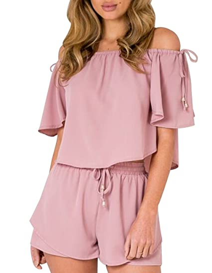aa7ec821f428 Amazon.com  Women Crop Top Shorts Set Summer 2 Pieces Outfits Sexy Off  Shoulder Strapped Rompers Jumpsuits Playsuits (US 10 Asia XL)  Clothing