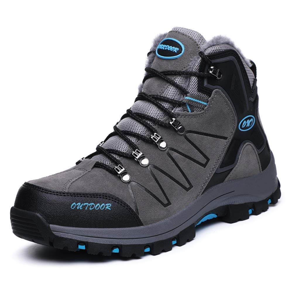 ZHRUI Männer Winter Outdoor Wandern Schuhe Pelz Gefüttert Anti-Kollision Jagd Turnschuhe Mann Anti-Skid Tourismus Bergschuhe (Farbe   Grau, Größe   9 UK)