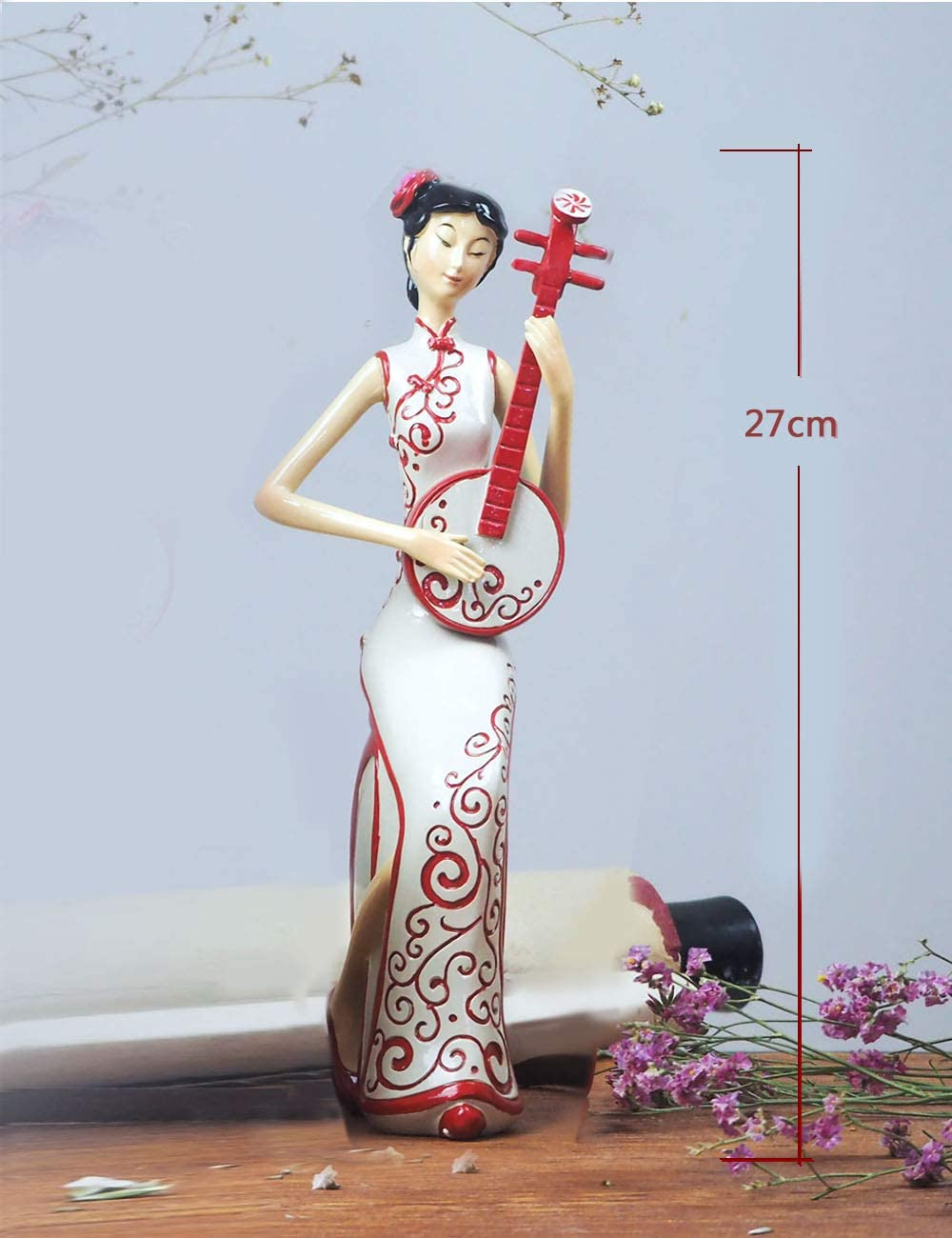 HauCoze Statue Chinese Lady Woman Lady Sculpture,Tabletop Figurine,Home Decoration,Gifts for Kids Present,Hand-Painted Resin Decor 23.5cmH Red