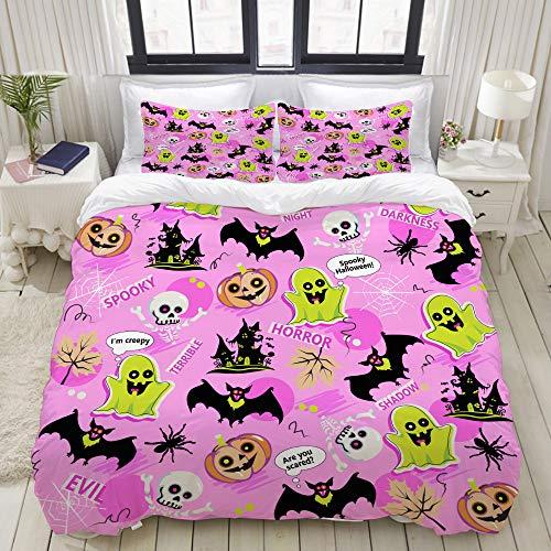 VAMIX Halloween Pattern, Doodles gost, Pumpkin, bat, Texture, Background Home Bedding Decorative Custom Design 3 PC Duvet Cover Set Twin]()