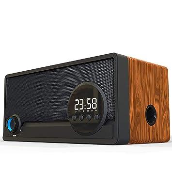 Retro madera altavoz Bluetooth inalámbrico reloj despertador de ...