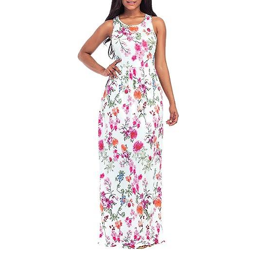 Boho Floral Vestido Largo Maxi Noche Sin Mangas Partido Verano Playa Vestido De Tirantes Vestido De Playa Estampado Bohemio Vestidos Mujer Verano Vestido ...