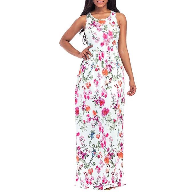Boho Floral Vestido Largo Maxi Noche Sin Mangas Partido Verano Playa Vestido De Tirantes Vestido De