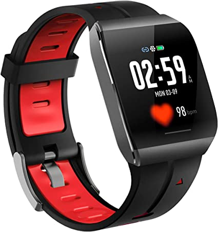 Pard 2019 Super Waterproof Smart Watch, Sport Wristband with ECG, Heart Rate and Sleep Health Monitor, Fitness Tracker for Women Men and Kids, Red
