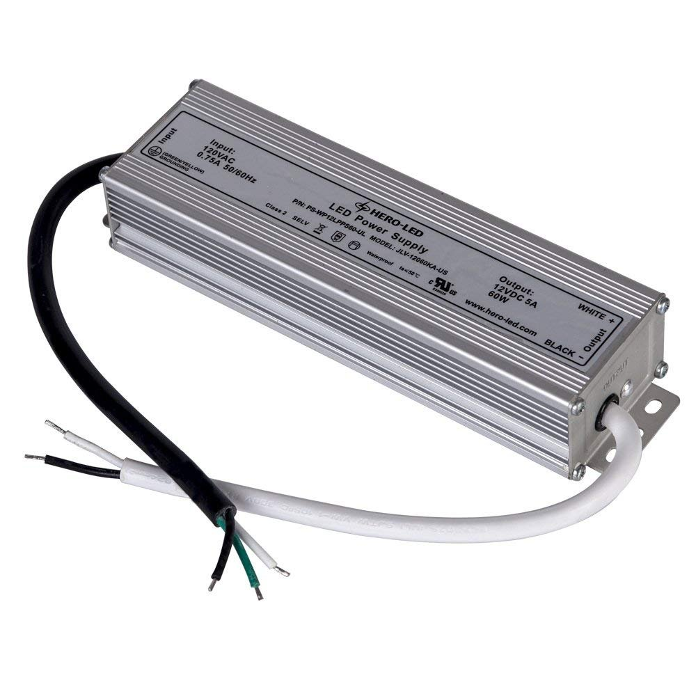 HERO-LED PS-WP12LPS60-UL UL-Recognized and Class 2 Qualified LED Power Supply - Constant Voltage LED Transformer - Waterproof Power Supply 12V DC, 5A, 60W