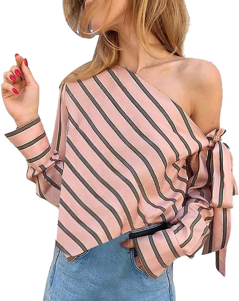 Qingsiy Tops Camisetas Hombro Inclinado Casual Moda Mujer Camisetas De Playa Mujer Verano Blusa Mujer Sport Tops Mujer Verano Camisetas Mujer Fiesta Elegante Camisetas(Rosa, S): Amazon.es: Ropa y accesorios