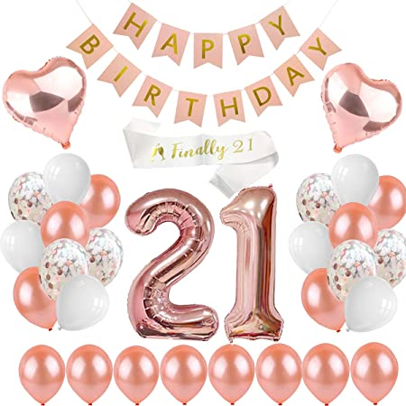 Happy Birthday Banner Bunting Rose Gold Silver Celebration Party Banners Decor