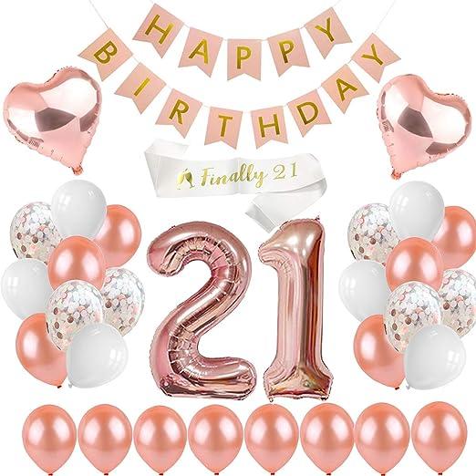 PEIYONG Pepong 21 cumpleaños Decoraciones Oro Rosa, Feliz ...