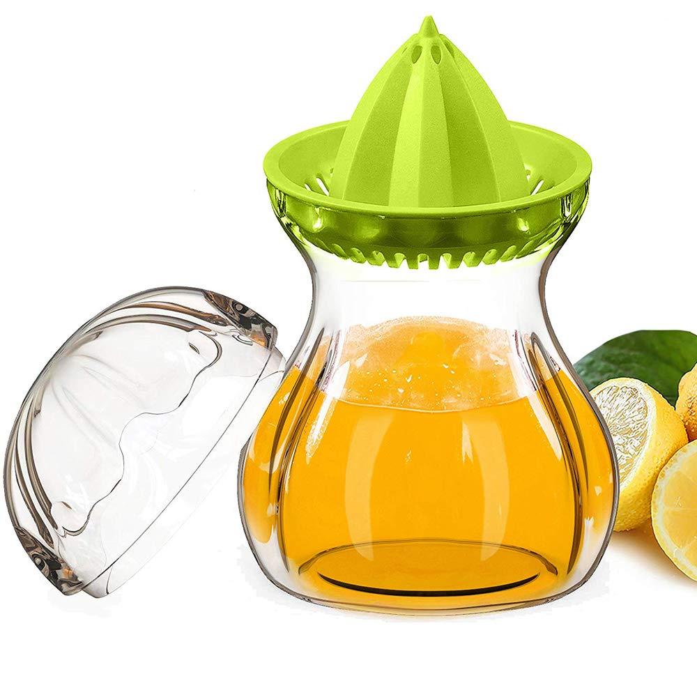 SELEWARE Premium Tritan Plastic Manual Citrus Squeezer Juicer Container Set with Lid,Juicer Hand Held, BPA-Fre, Freezer, Dishwasher Safe(21oz Green) King Joy SWJC-001-AG