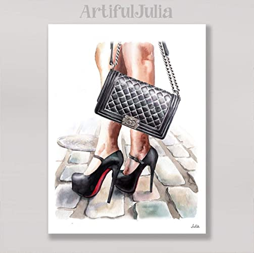 039f5e80a464af Image Unavailable. Image not available for. Color: Fashion chanel bag art  print of watercolor painting ...