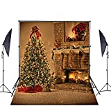 Christmas Photography Background, Parousia 5x7ft Seamless Christmas Tree Decorating Backdrops 3D Printed Customized Cotton Collapsible Background for Studio Props