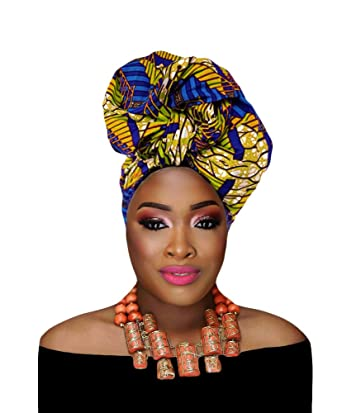 Hanas Womens African Large Turban Head Wrap Ankara Cotton Wax Head Scarf Tie (One Size, Black) at Amazon Womens Clothing store: