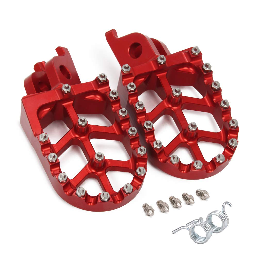 JFG RACING Red Billet MX Wide Foot Pegs Pedals Rests For For Honda CR125/250R 02-07/CRF150R 07-18 CRF250R 04-17/CRF250 X 04-17/CRF450R 02-18 CRF450RX 17-18 CRF450 X 05-17 CRF250L/M 12-17 CRF250RALLY by JFG RACING