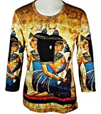 Breeke & Company - Egyptian, 3/4 Sleeve, Scoop Neck, Hand Silk Screened Top