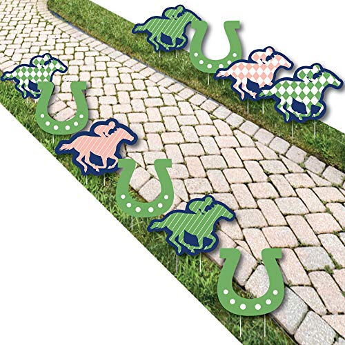 Kentucky Horse Derby - Horse and Horseshoe Lawn Decorations - Outdoor Horse Race Party Yard Decorations - 10 Piece -