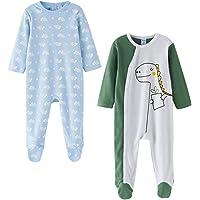 Amomí Pijama Niño, Pelele Niño, 100% Algodón Bebé Niño, Pelele para Dormir y Jugar, Manga Larga Pack de 2 Pcs