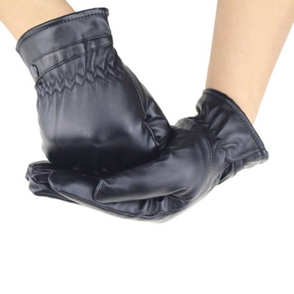 Men/'s Winter Touch screen Texting PU Leather Glove For Texting Driving Cashmere Lining