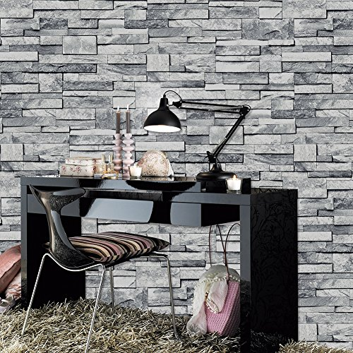 JZHOME YT1490 Faux Stone Brick Textured Wallpaper Rolls,3D Embossed Effect Wallpaper Decorating Bedroom Living room Kitchen Hotel CLUB's Wall 20.8' x 33ft