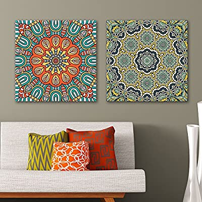 Wonderful Work of Art, Made For You, 2 Panel Square Colorful Floral Pattern Patterns x 2 Panels