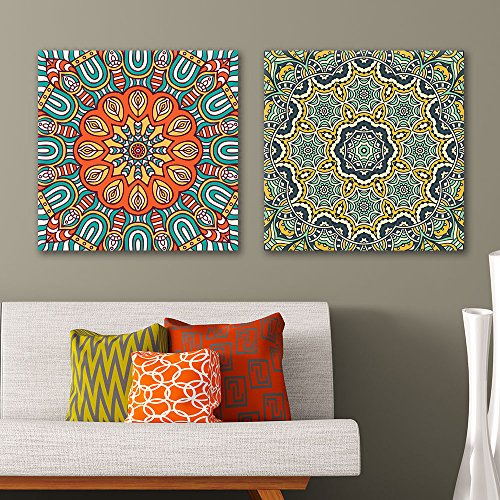 2 Panel Square Colorful Floral Pattern Patterns Gallery x 2 Panels