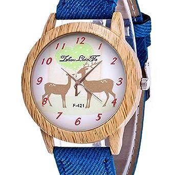 Scpink Relojes de Cuarzo para Mujer, Modelo Elk navideño, separación de Relojes de señora