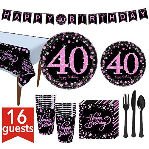 """40th Birthday Party Supplies Set Serves 16 Guests(114 Pieces) for Women Disposable Tableware Kit Including 7"""" Plates,9"""" Plates, Banner, Cups, Napkins, Tablecloth, Spoons, Forks and Knives..."""