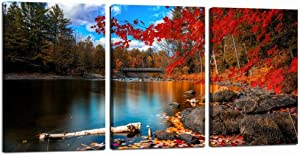 sechars 3 Panel Canvas Wall Art Autumn Forest Canvas Prints Red Maple Tree by Lake Picture Painting Artwork for Home Living Room Bedroom Wall Decor Framed Ready to Hang