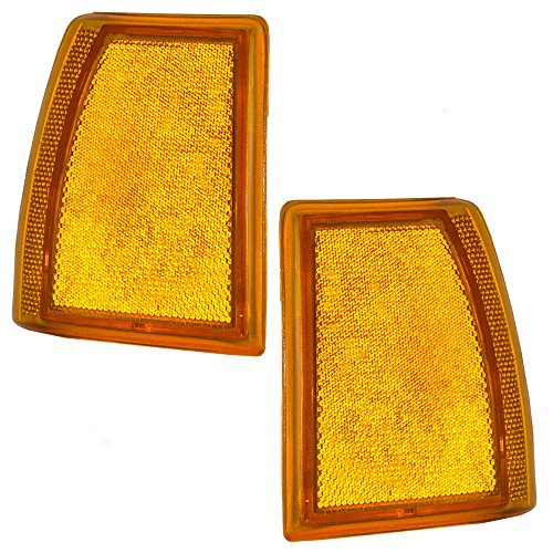 Driver and Passenger Front Signal Side Marker Lights Amber Lamps Replacement for Ford SUV Pickup Truck E9TZ15A201A E9TZ15A201B