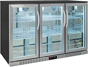 Procool Residential 3-door Glass Front Stainless Steel Back Bar Cooler; Undercounter 33