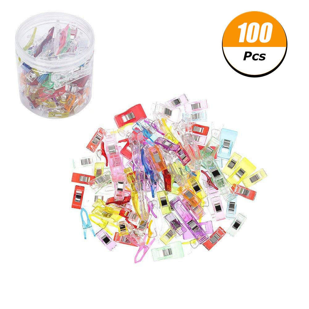 100 Sewing Clips- Craft Clips - Multicolor Plastic Sewing Clips (15 Big+25 Medium+and 60 Small) for Crafting and Quilting - Vibrant Colors - Sewing, Craft, Crochet, Knitting with Box Package HoLeis