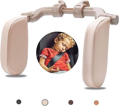 Rajvia Kopfstütze Autositze Mit Teleskopstange Und Schiebebaren Clips Seitliches Kopfstützkissen Aus Leder Für Kinder Erwachsene Beige Auto