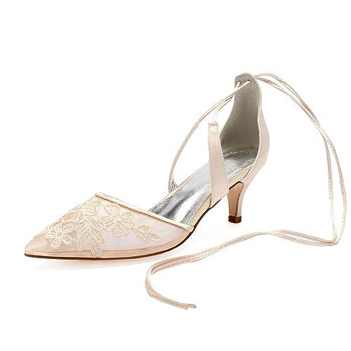 27de96f56a5c1 LLBubble Women Kitten Heels Pointed Toe Lace Wedding Bridal Shoe Low ...