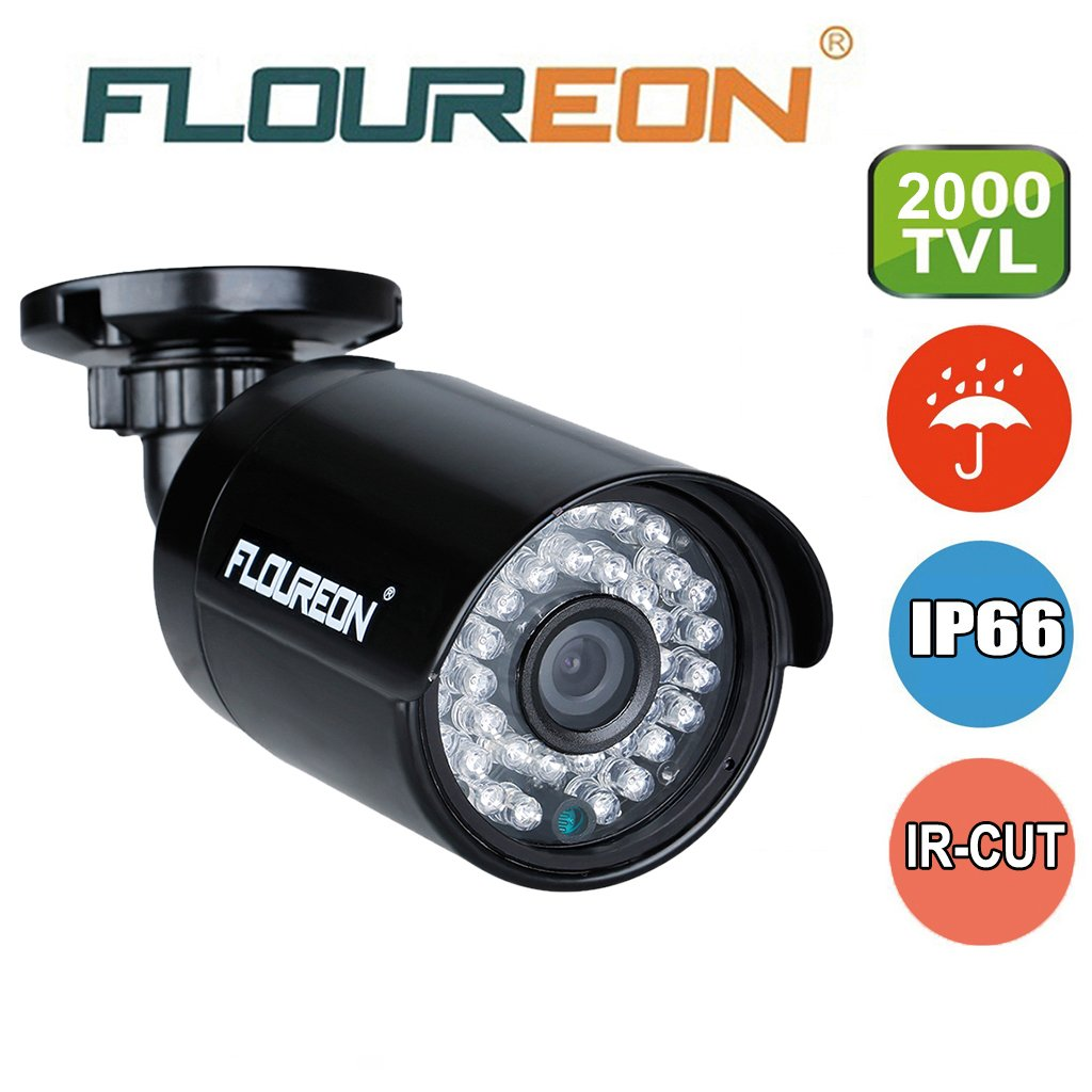 FLOUREON 1.3MP 960P CCTV DVR Camera 2000TVL 1/3 3.6mm Lens CMOS IR Led 36 PCS Night Version IP66 Waterproof Outdoor for AHD DVR Security System Only by floureon