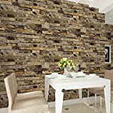 HaokHome 91302 Modern Faux Brick Stone Textured Wallpaper Roll Yellow Multi Brick Blocks Home Room Decoration 20.8