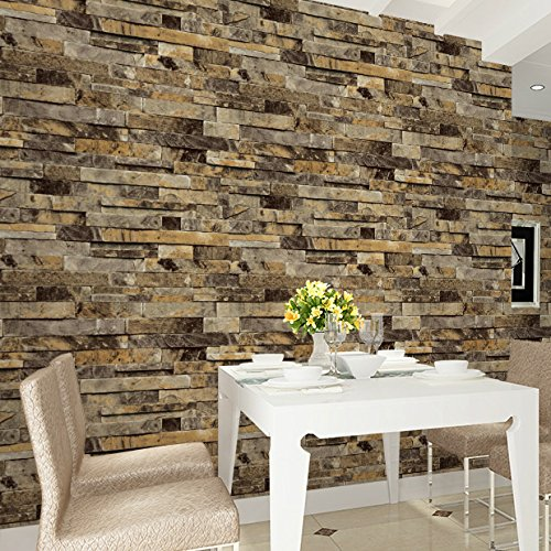 HaokHome 91302 Modern Faux Brick Stone Textured Wallpaper Unprepasted Yellow Multi Brick Blocks Home Room Decoration 20.8