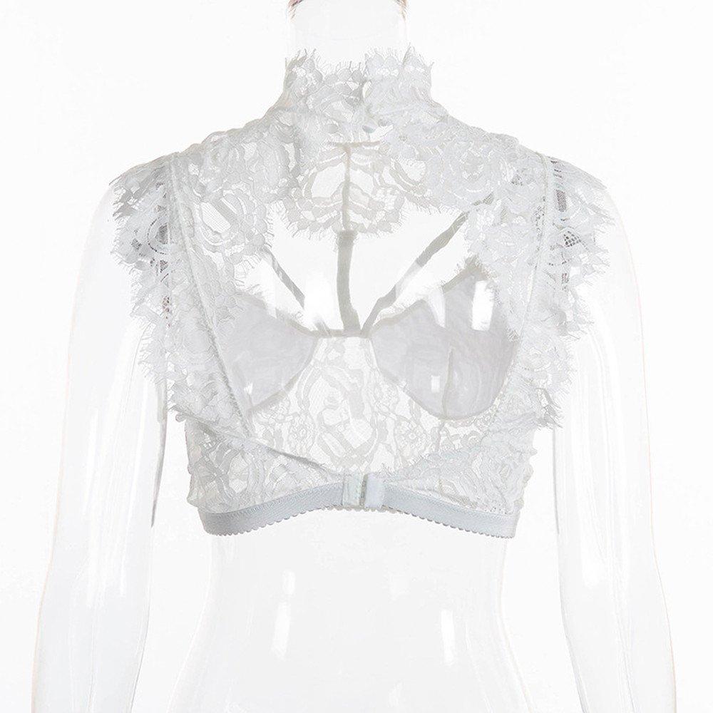 Women Tank Tops Sleeveless Lace Splice V-Neck Bra Vest T-Shirt Crop Blouse (L, White) by Yihaojia Women Blouse (Image #5)