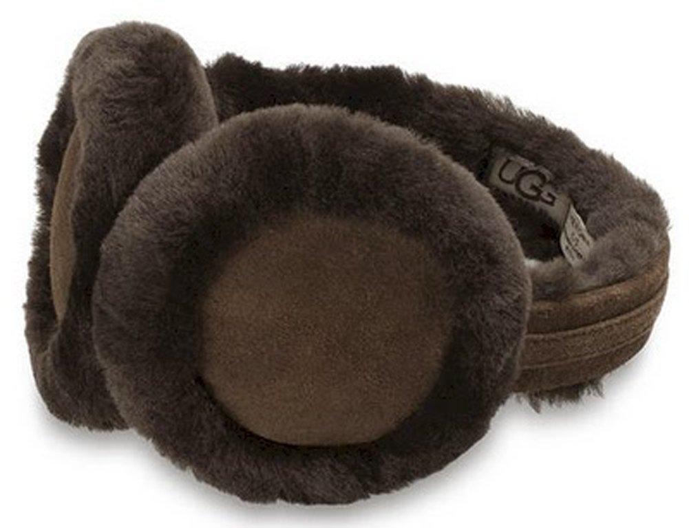 UGG Women's Double-U Logo Shearling Earmuff, Chocolate, One Size